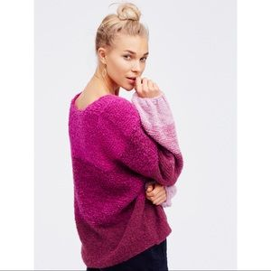 Free People Cotton Candy Oversized V-Neck Sweater